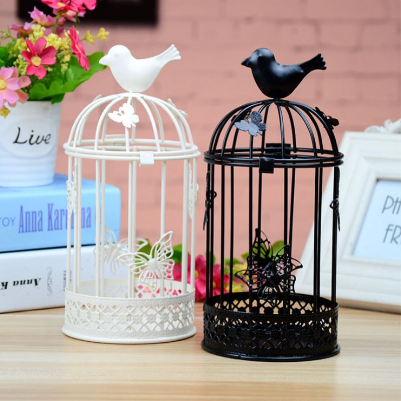 1 x Black/White Bird Cages Candlesticks Home Decor Iron Candle Holders Decorative for Wedding Party Decoration Festival Gift P20(China (Mainland))