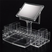Large Clear Acrylic Cosmetic Makeup Display Organizer With Two Sided Mirror Desktop Transparent Drawer Storage Box P13