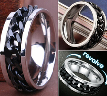 30pcs Quality Comfort-fit Men's Black CHAIN Stainless steel SPINNRING Rings Wholesale Fashion Jewelry Job Lots(China)