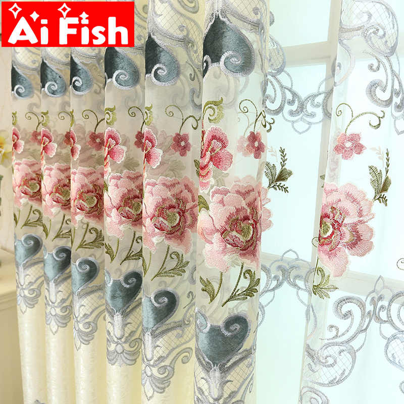 European Luxury Hollow Soluble Embroidery Window Screens Curtains For Living Room Bedroom Window Curtains Sheer Cloth M024-40