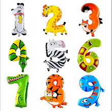 1PC 16inch Cute Animal Number Foil Balloons Baby 100days Kids Birthday Party Decoration Happy Birthday Gift Ballons(China)