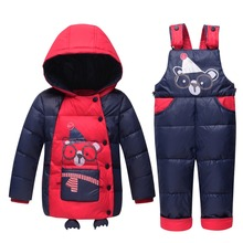 2017 winter Baby boy clothing set Russia Warm baby Girl Ski suits sets baby Boy's Outdoor sport Kids down coats Jackets+trousers(China)