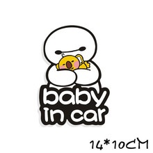 3D Cartoon Car Stickers Reflective Vinyl Baby In Car Baby on Board Car Sticker big hero Warning stickers