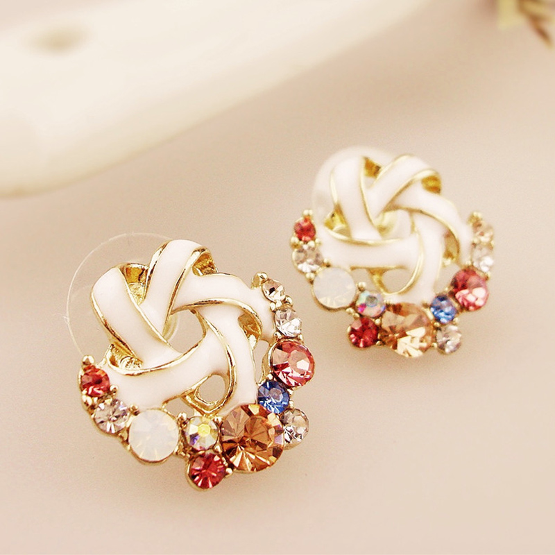 Real Crystal Colorful Stud Earrings Women Brand Jewelry Earring Studs For Valentine'S Day Gift Buy 2 Send More 1 as gift DG2278(China (Mainland))