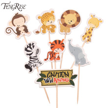 FENGRISE 24pcs Safari Jungle Animal Cupcake Toppers Picks Birthday Party Decoration Kids Baby Shower Boy Favors Cake Decorating