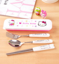 SGS passed Hellokitty cutlery set korean style cute cartoon fork  chopsticks students portable travel package gift box