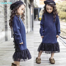 girl sweater long-sleeved dress 2017 winter new models in the long section of lace stitching fishtail dress princess dress(China)
