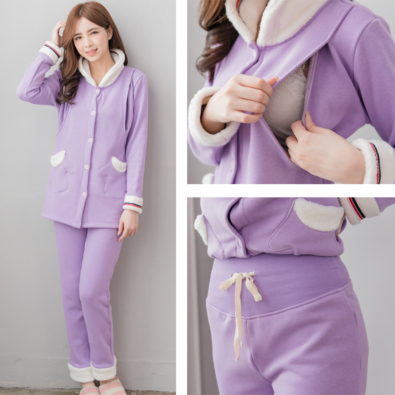 Maternity pajama set Nursing sleepwear Winter Maternity clothes Breastfeeding clothes for pregnant women  Purple color<br>
