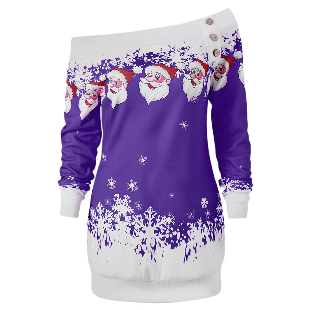 AZULINA Causal T-Shirts Santa Claus Snowflake Skew Neck Pullover Christmas T Shirt Jumper Outerwear Autumn Women Button Tops 21