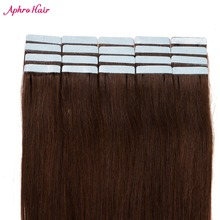 "Aphro Hair Skin Weft Tape Hair Extensions 20 Pieces 50G Non Remy Brazilian Straight Hair 100% Human Hair 20"" inch Dark Brown #2"