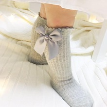Newborn Baby Girls Soft Lovely Bow-Knot Socks Cotton Casual Kids Anti Slip Ankle Bubble Mouth Socks Vertical Striped