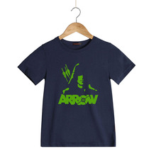Green Arrow T-Shirt for Children Boys Summer Cotton Style Party Club Cotton Children Kids Neon Print T Shirts