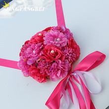 2017 NEW Heart rose+ribbon bowknot flower car wedding decoration Rearview mirror doorknob decorate wedding anniversary