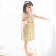 2 Color 2017 New Summer Flower Baby Girl Dress Yellow&Blue Smocking Floral Dress TUTU Party Petticoat Infant Party Dress