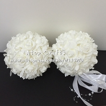 Free EMS Shipping 18pcs 6'' 15cm Decorative Foam Rose Kissing Balls Artificial Wedding Flower Balls For Home Party Event