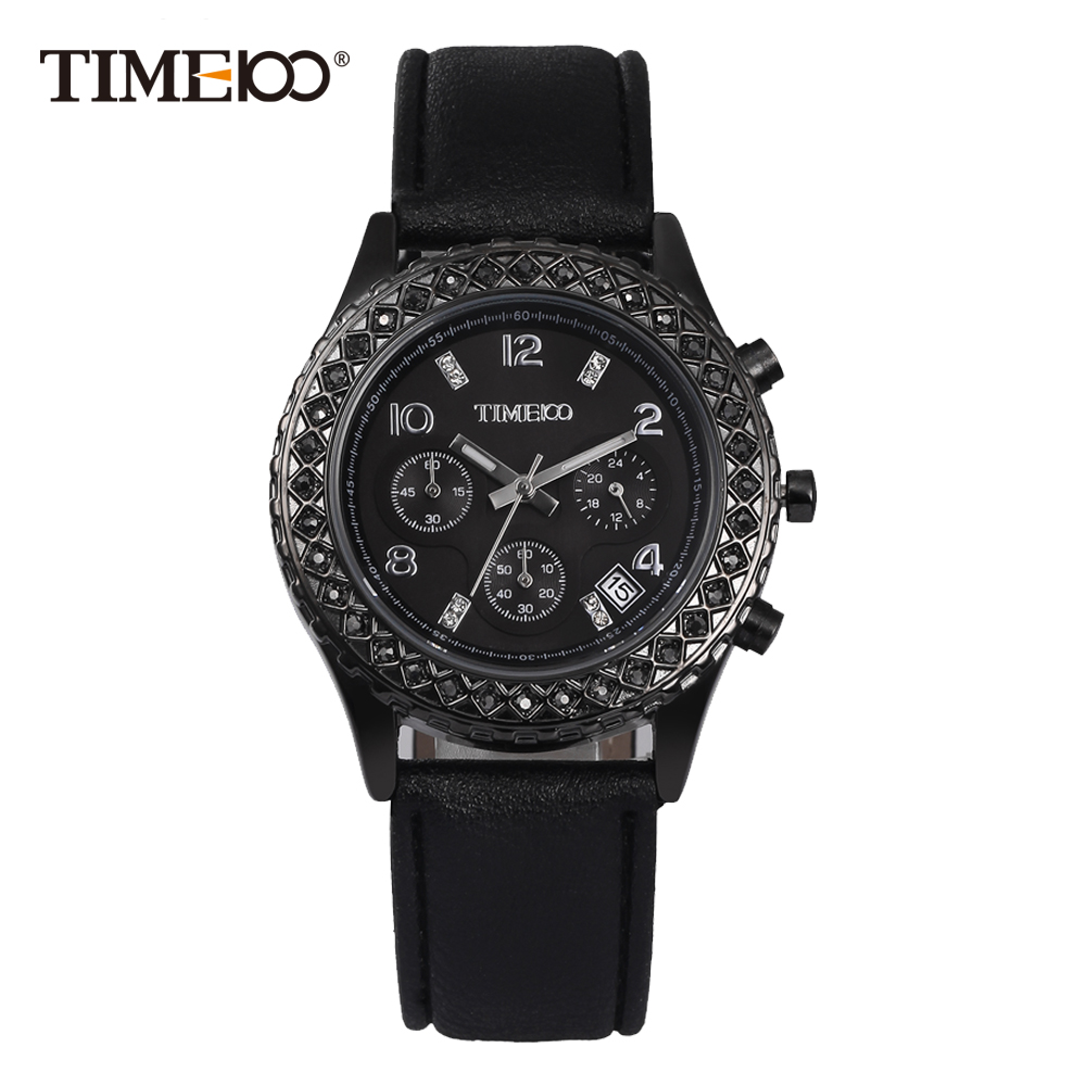 Time100 Fashion Casual Watches Women Quartz Watches Black Leather Strap Waterproof Auto Date Ladies Wrist Watch reloj mujer<br>