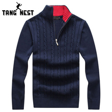 TANGNEST 2017 New Arrival Classic Stand Collar Warm Men's Sweater Asian Size M-XXXL Casual New Design Male Pullover MZM432