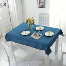 Solid Blue Table Cover Pretty Lace Decoration Tablecloth Design for Dining Room 100% Polyester Cheap and Recyclable(China)