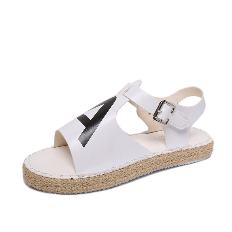 2017 Women Sandals,Fashion Female Casual PU Leather Slipper Shoes,Flat Shoes Woman Cheap Summer Buckle Strap Shoes Black White<br><br>Aliexpress
