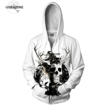 White Hooded 3D Funny Halloween Costume Skull Zip-up Hoodie Men Women Casual Harajuku Graphic Tracksuit Men Outwear Coat Clothes