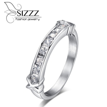 SIZZZ  Fashion bright CZ stone engagement ring for lady girl silver color stainless steel rings for women wedding jewelry gift