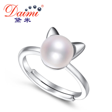 DAIMI 2017 New Lucky Cat Ring 7-8mm White Freshwater Pearl Ring Brand Jewelry 925 Sterling Silver Ring Gift For Girl(China)