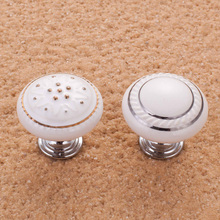 10PCS Round and square Ceramic Furniture Handle Kitchen Cabinet Drawer Pull Handle Knobs Single Hole bedroom furniture handles(China)