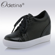 Odetina 2018 New Fashion Women Wedges Pumps For Women Comfort Hidden Heel Casual Shoes Female Lace Up Platform Pump Big Size 45(China)