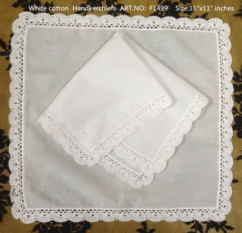 Set of 12 Fashion Ladies Handkerchiefs 12-inch White Cotton Lace Wedding Handkerchief Sweet Heart hankies Vingate Bridal Hanky