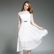 2017 Ladies Sexy Lace Dresses Women Half Sleeves Hollow Out White Black Red Vestidos Mujer Floral Embroidery Dress W/Belt N618(China)