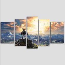 Zelda Canvas 5 Panel Wall Art, The Legend of Zelda Canvas Prints Wall Decor Hanging Painting Artwork for Bedroom Wall Decor(China)