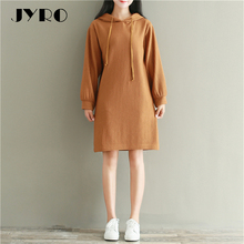 JYRO Brand Mori Women 's Dresses New Winter Literary Long Loose Large Size Knee Length Long Sleeve Hooded Knit Dress(China)