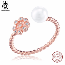 ORSA JEWELS Adjustable Imitation Pearl 925 Rings Rose Gold Color CZ Flower Design Sterling Silver Jewelry for Women SR14