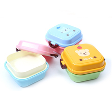 Portable Cartoon Lunch Box Fod Kids Double Layer Food Fruit Container Storage Box Picnic Plastic Bento Box Children Gift