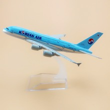 16cm Alloy Metal Airplane Model Korean Air A380 Airlines Aircraft Airbus 380 Airways Plane Model W Stand  Gift
