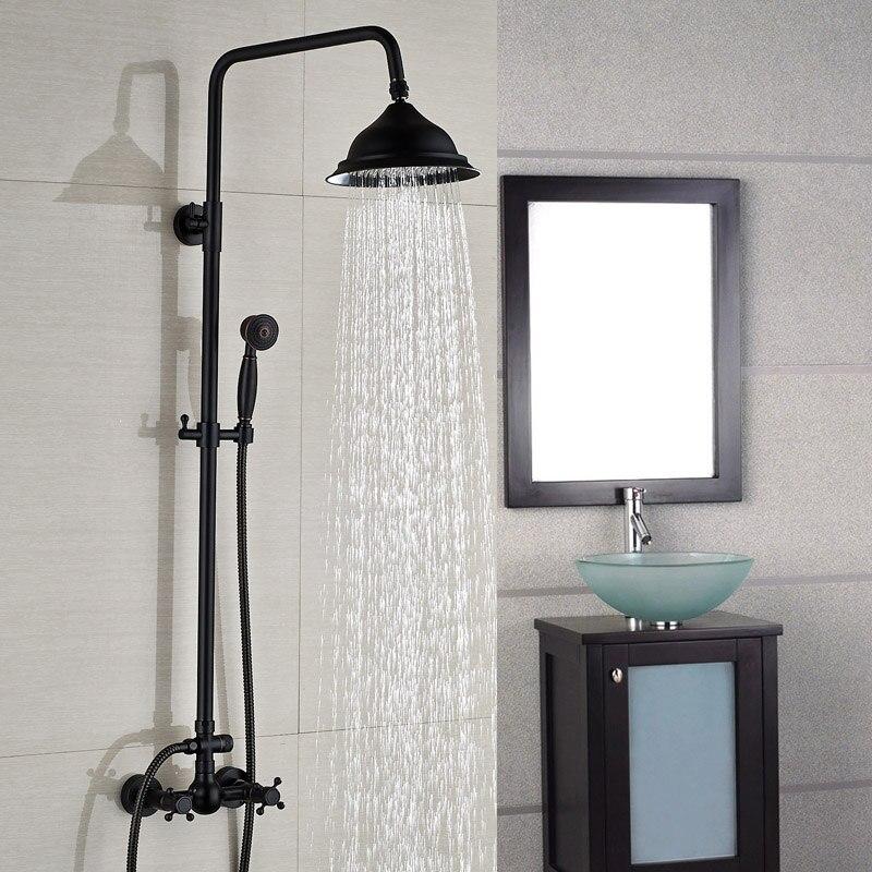 Oil Rubbed Bronze Shower Faucet Set 8 Rain Shower Head + Hand Shower Spray Mixer Tap Wall Mounted<br><br>Aliexpress
