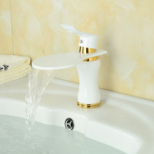 White waterfall crane bathroom faucet mixer waterfall basin mixer tap white waterfall tap white tap sink mixer