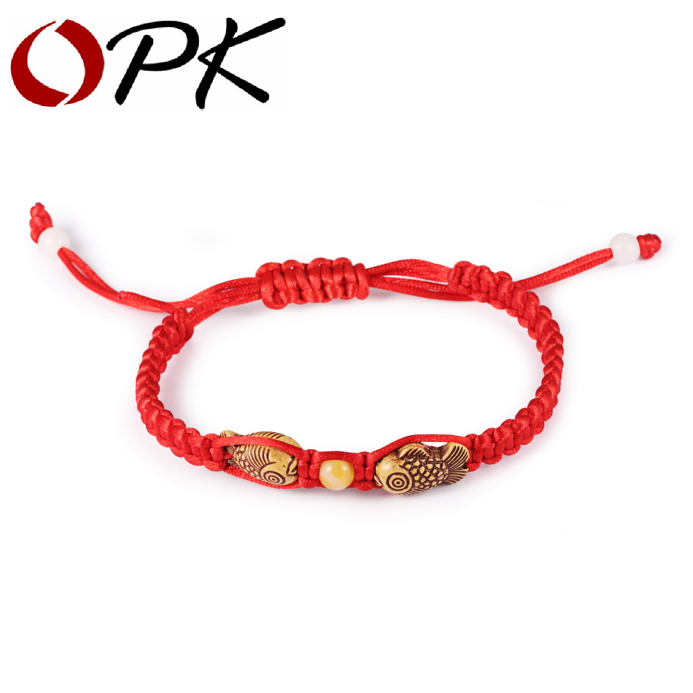 OPK Chinese Red Rope Charm Bracelets Casual Handmade Wood Fish Design Adjustable Women Men Jewelry For Unisex Cheap Price(China)