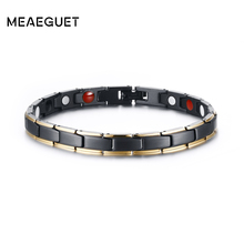 Meaeguet Titanium Super Hematite Far Infrared Germanium Cuff Bracelets For Women Therapy Bio Magnetic Bangles Jewelry(China)