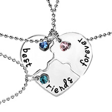 "3 Pcs/set ""best friends forever"" Rhinestone Broken Heart Shape Bff Necklace Best friend Jewelry Friendship Gifts free shipping"