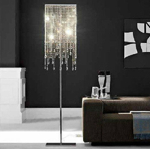 Elegant atmosphere luxury floor lamp fashion brief romantic bedside standing light E14 square k9 high-grade crystal floor light(China)