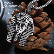 Phesee Antique Silver Color Pharaoh Avatar Pattern Necklaces & Pendants Jewelry for Women and Men Statement Necklace Bijoux