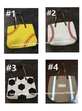 50pcs Wholesale Fashion Blanks Cotton Canvas Tote Bag for Women Men Monogram Sports Baseball Soccer Handbag Summer Party Gifts(China)
