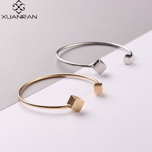 Geometric cubes simple open bracelet Pure copper plating fashion adjustable bangles  Unique personality jewelry