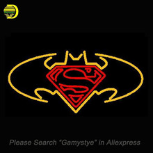 Neon Sign For NEW BATMAN VS SUPERMAN SUPERHERO glass Handcrafted Pub Restaurant neon Windows lights for sale custom LOGO made(China)