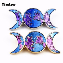 Timlee H136 Free Shipping Dazzle Colour Blue Dream Moon Metal Hair Clip Hair Accessory Wholesale(China)