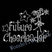 Free shipping  FUTURE CHEERLEADER IRON ON RHINESTONE TRANSFER