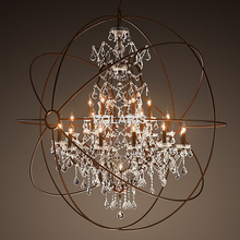 Modern Vintage Orb Crystal Chandelier Lighting RH Rustic Candle Chandeliers LED Pendant Hanging Light for Home Hotel Decoration(China)