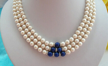 free shipping  stunning 3rows 8mm round white freshwater pearls blue lapis lazuli necklace