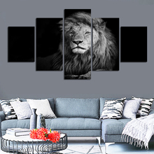 Black and white effect animal lion picture canvas painting for sitting room study furniture home decor wall free shipping FA204(China)